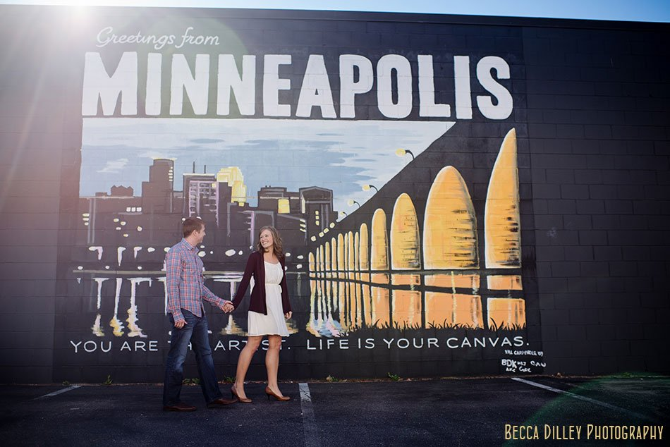 greetings from Minneapolis sign for engagement photos
