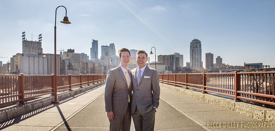 two grooms with skyline minneapolis same sex wedding pinstripes mn