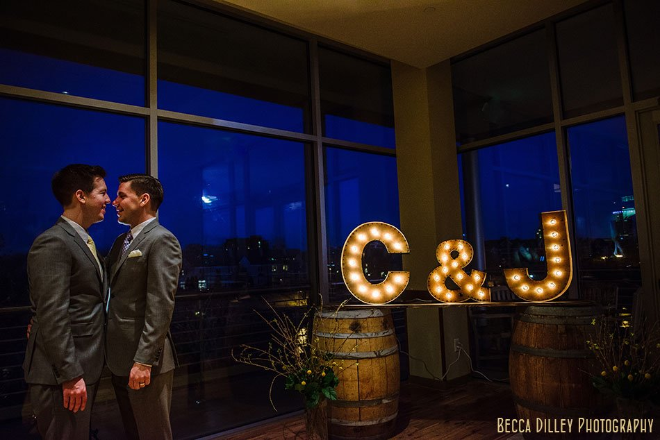 two grooms with initials pinstripes mn