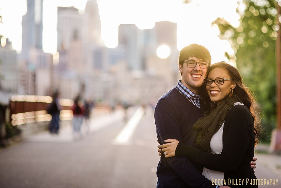 minneapolis dusk engagement photos skyline