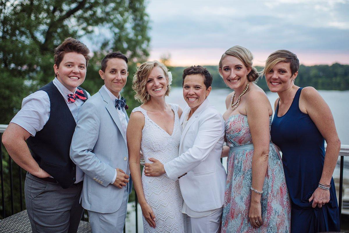 Casual wedding group portrait Minneapolis same sex wedding