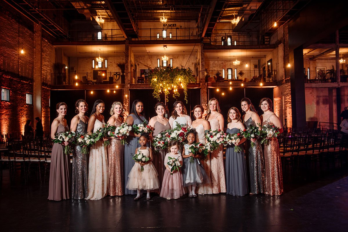 Formal portrait of all bride's side at Aria Minneapolis