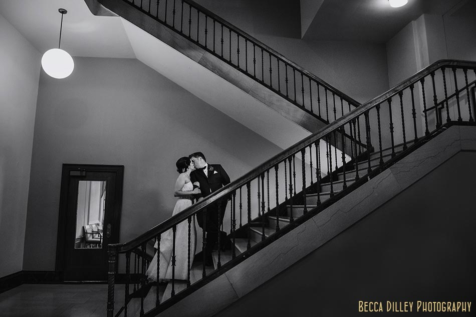 Madison wedding, madison memorial union wedding bride and groom on stairs modern