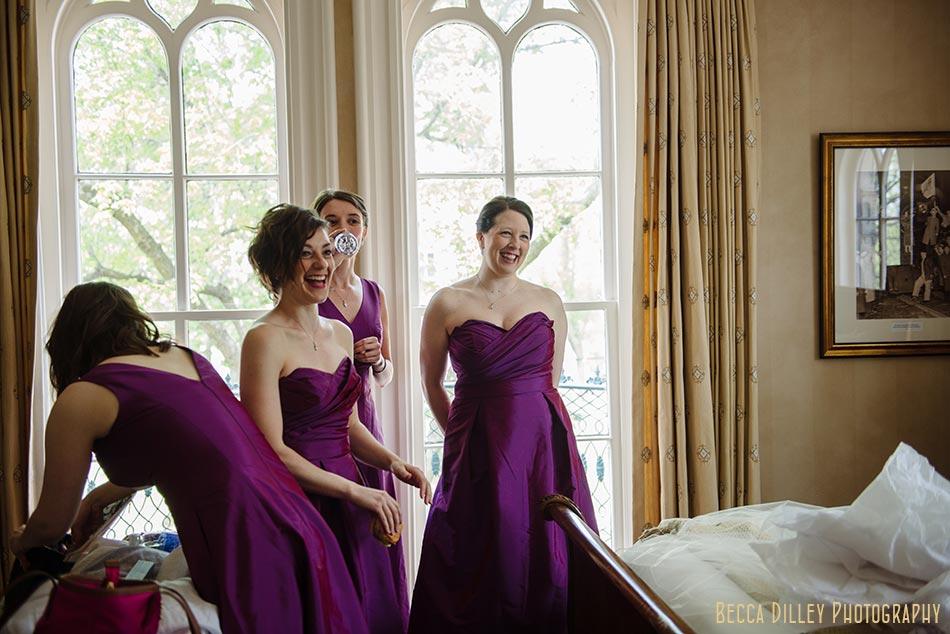 bridesmaids see bride at mansion hill inn madison wisconsin wedding