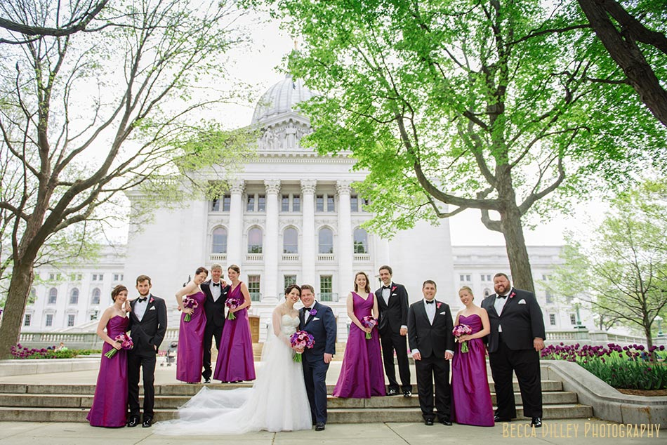 wedding party at capitol building madison wisconsin wedding