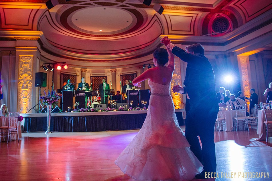 first dance in great hall of memorial union madison wisconsin wedding