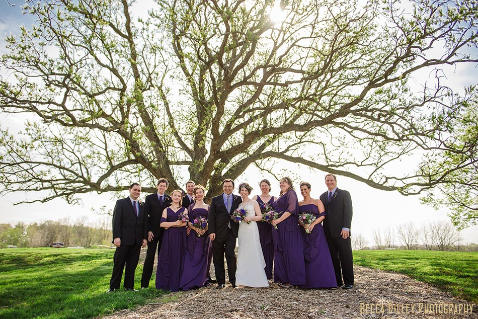 wedding party in purple prairie wedding madison wi