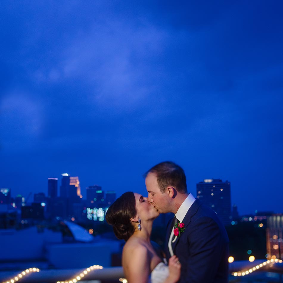 minneapolis skyline at night campus club wedding