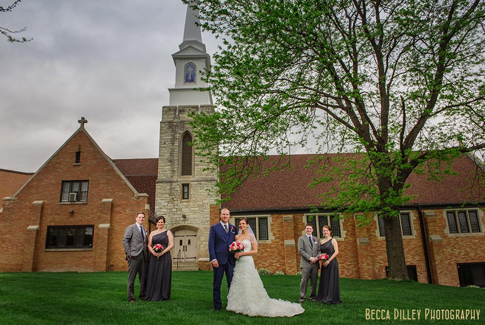 flash composite wedding party outside church