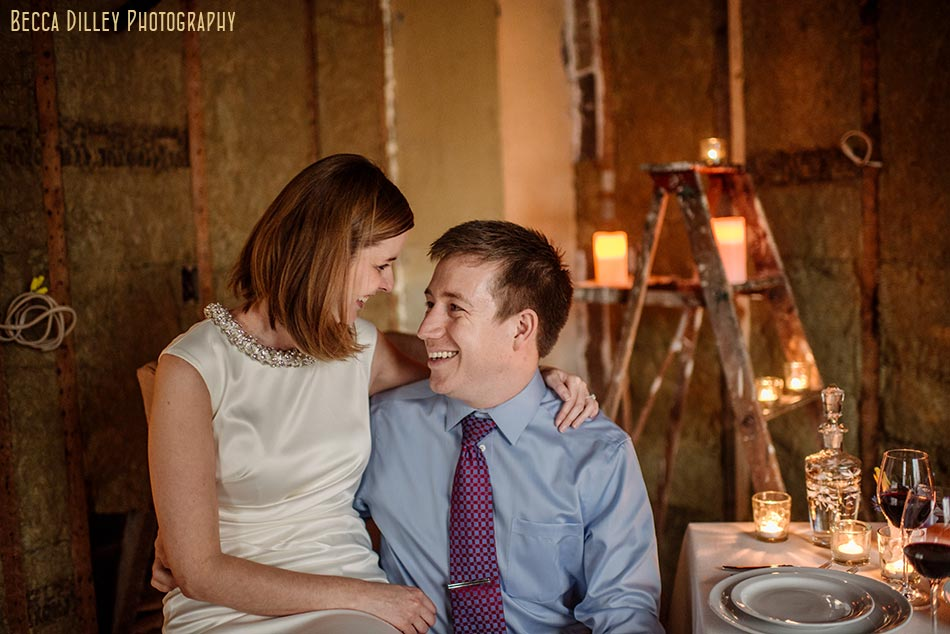 home engagement photos in unfinished kitchen