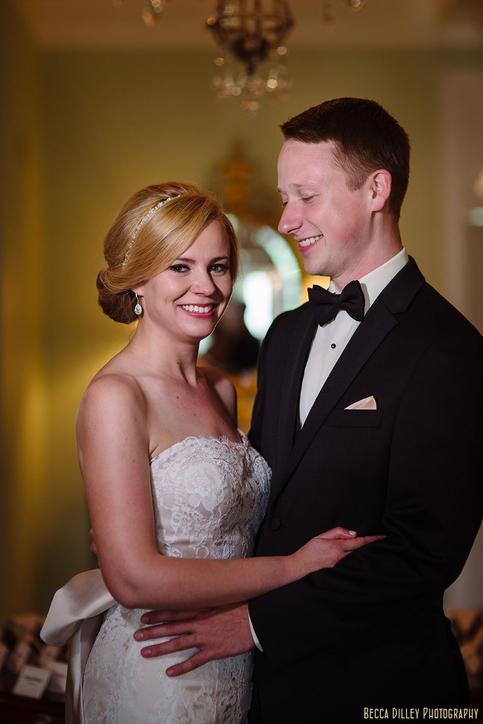 Minikahda Club wedding minneapolis couple in lobby