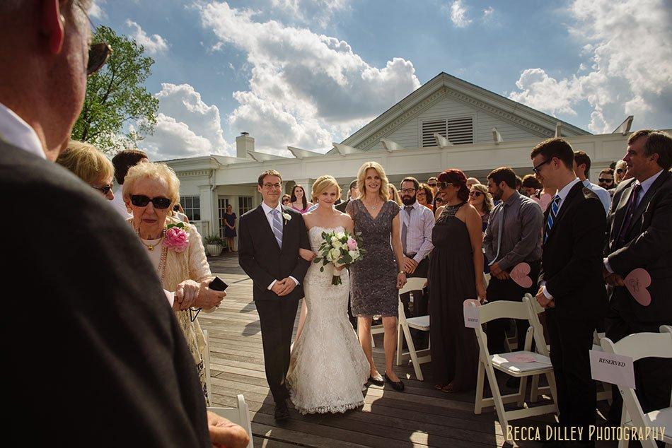 bride and parents walk down aisle Minikahda Club wedding minneapolis