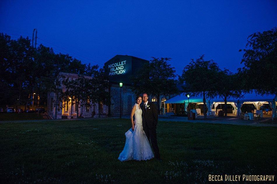 night Nicollet Island Pavilion Wedding Minneapolis