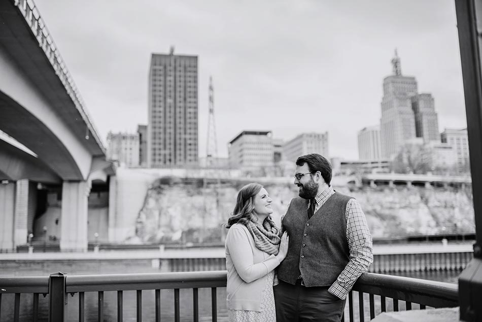 skyline St Paul Raspberry Island Engagement Photos