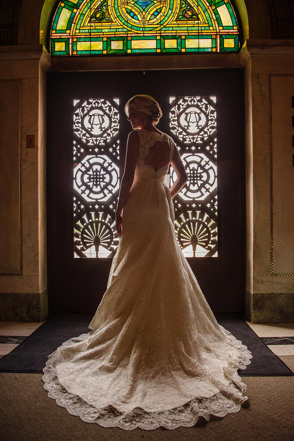 dramatic photo of bride in silhouette lakewood chapel wedding minneapolis