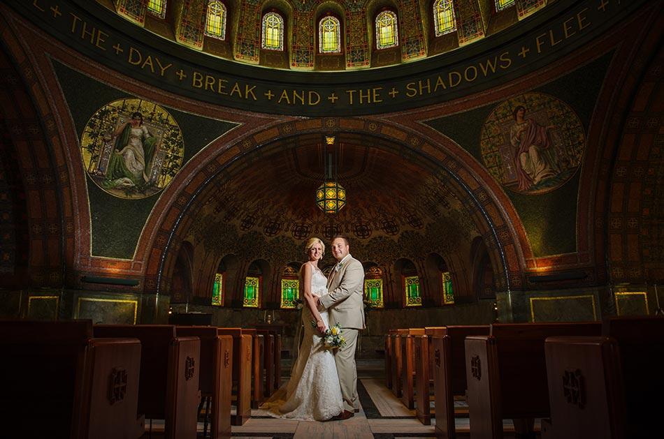 bride and groom inside lakewood chapel wedding minneapolis