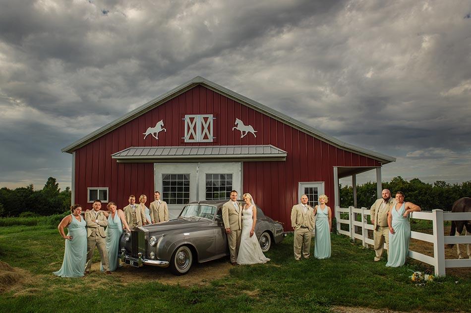 flash composite minnesota wedding reception on family farm