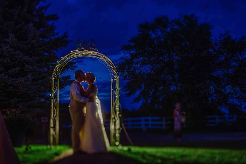 night portrait minnesota wedding reception on family farm