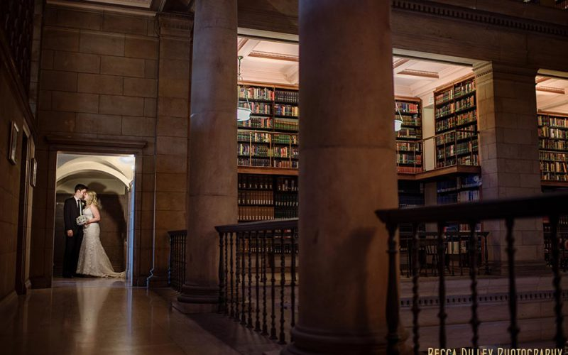 bride and groom in nook james j hill library wedding st paul mn photographer