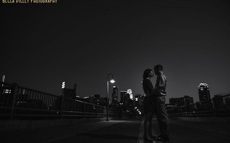 minneapolis noir engagement photo preview