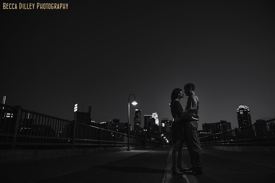 Noir Minneapolis skyline engagement photo