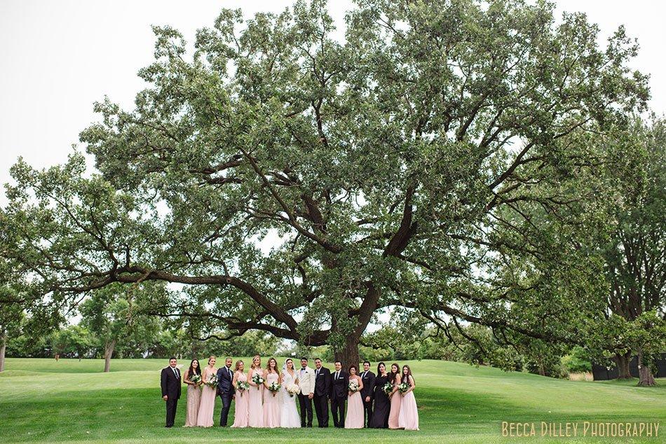 wedding party with pink wayzata country club wedding mn