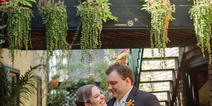 gride and groom on garden of loring minneapolis wedding varsity theater photographer