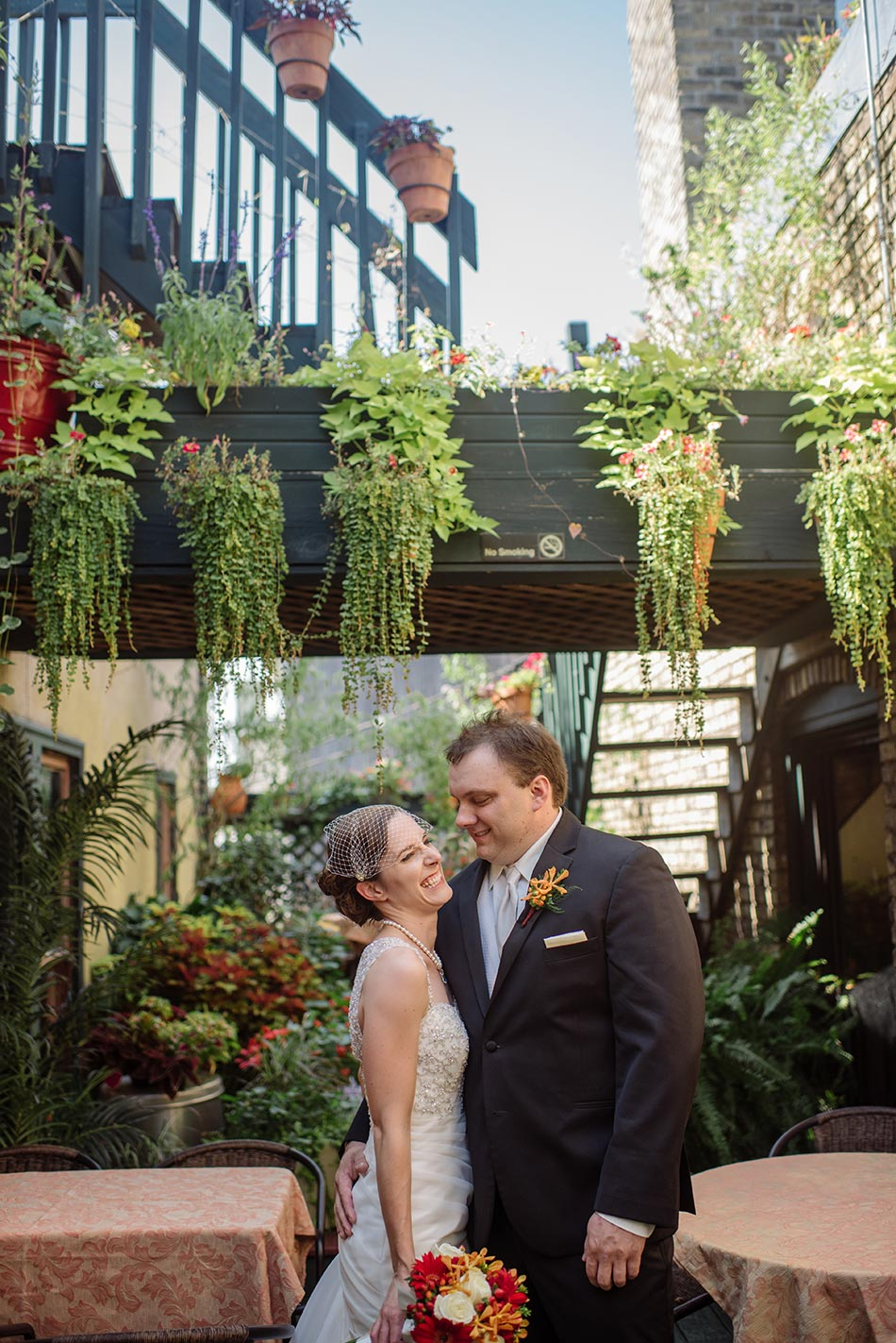 gride and groom on garden of loring Minneapolis Wedding at the Varsity Theater