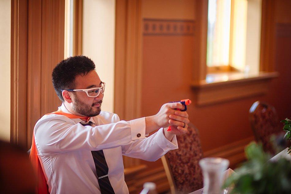 nerf gun Stillwater Historic Courthouse Wedding mn
