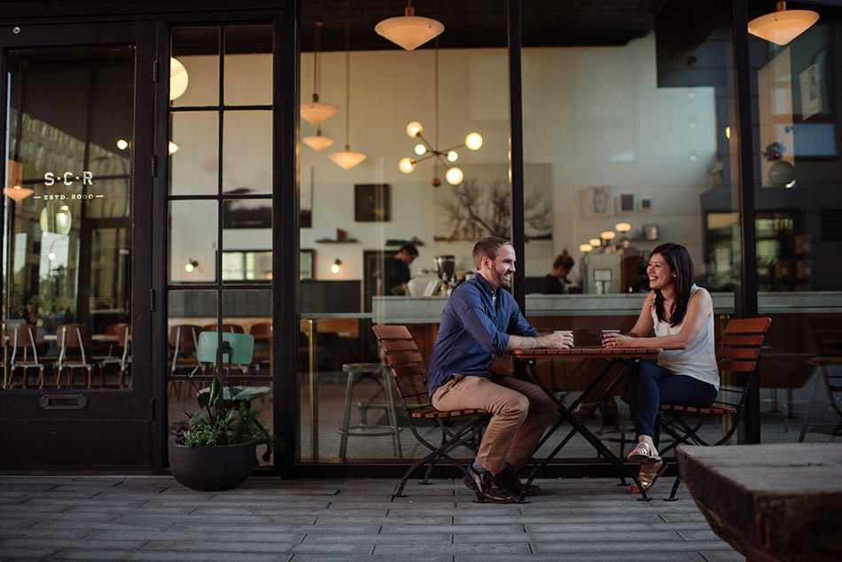 slyhouse coffee Stylish downtown Minneapolis Engagement