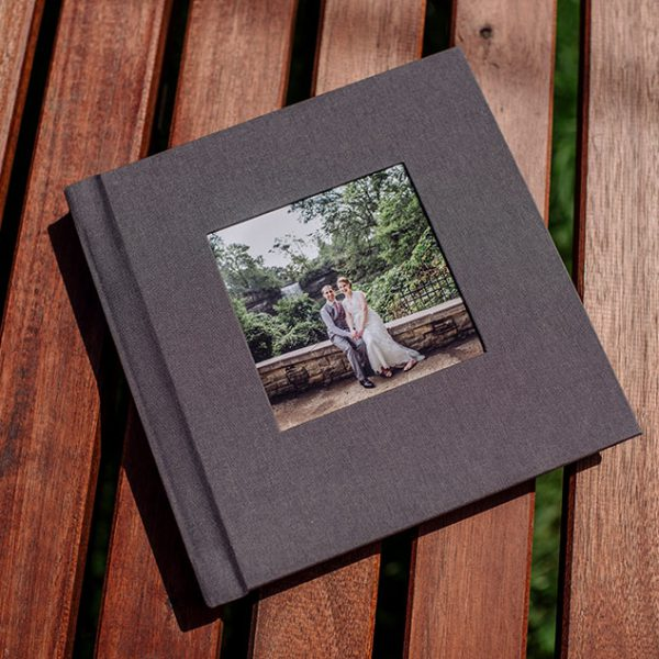 flush mount simple wedding album with stone linen cover