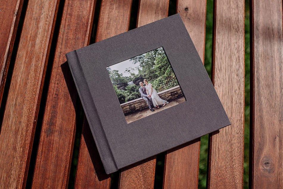 flush mount simple wedding album with linen cover