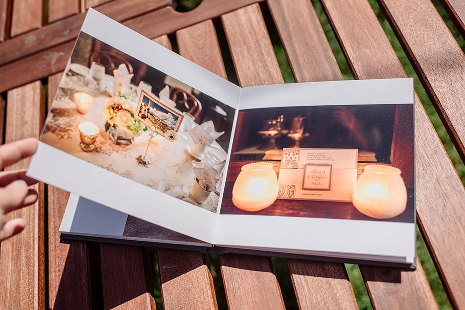 flush mount simple wedding album with stone linen cover