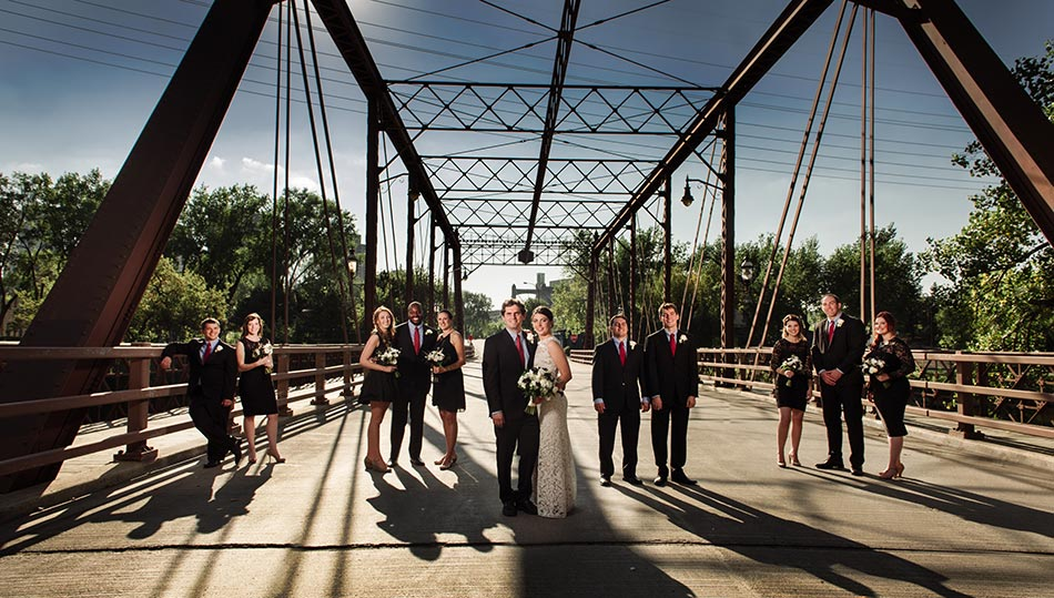 dramatic flash composite St Anthony Main wedding photos minneapolis