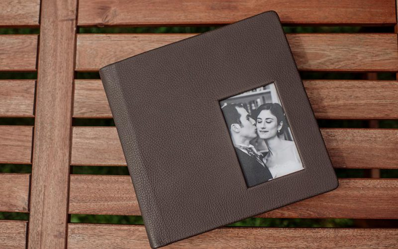 Brown Leather wedding album cover with photo