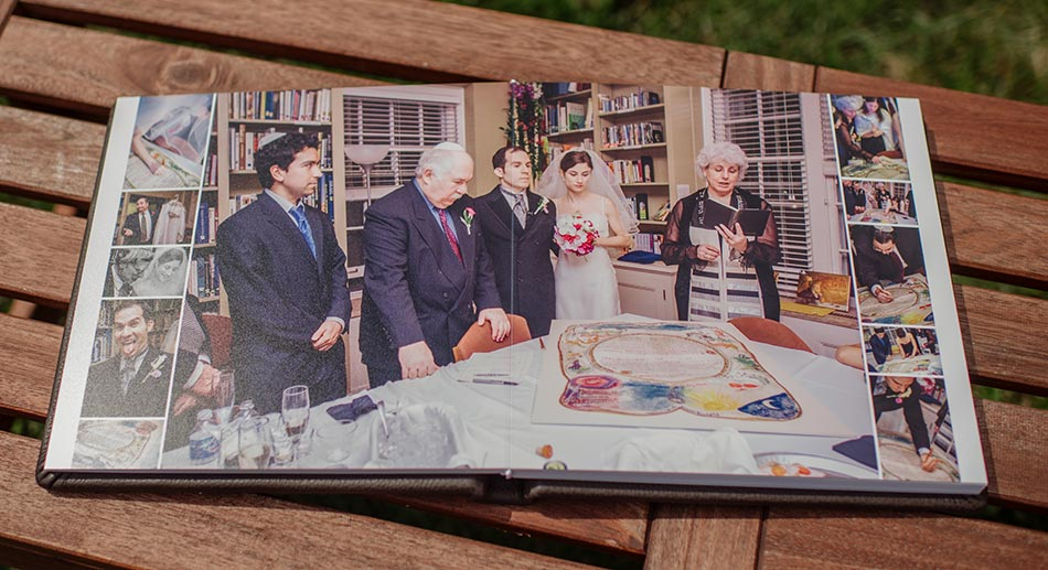 Brown Leather wedding album signing the ketubah minneapoilis