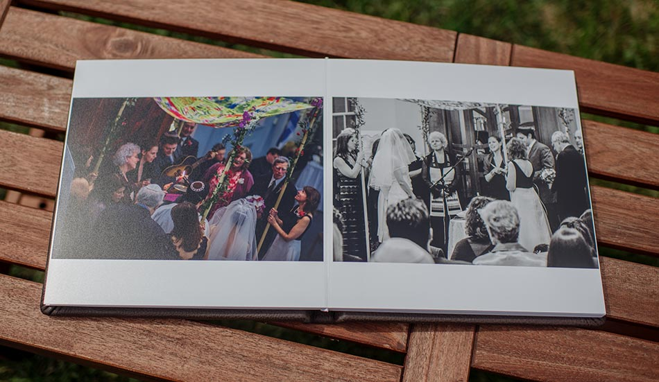 Brown Leather wedding album under the chuppah minneapolis