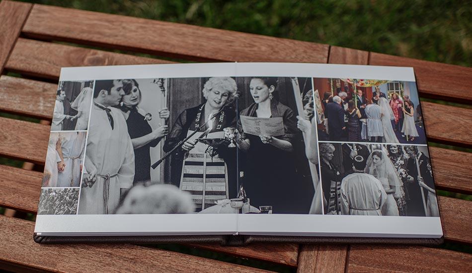 Brown Leather wedding album under the chuppah jewish wedding minneapolis