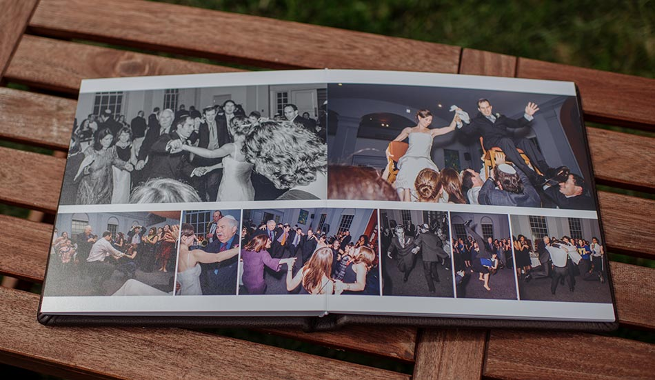 Brown Leather wedding album dancing the hora jewish wedding minneapolis