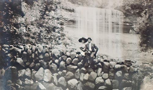 vintage photo of great grandparents at minnehaha falls