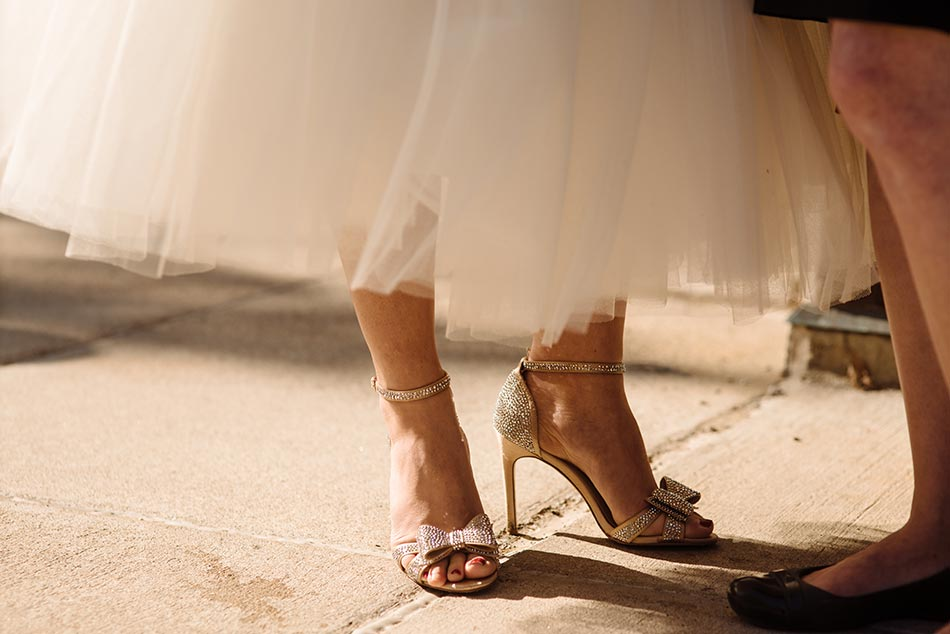 bride's shoes Theodore Wirth Wedding Minneapolis