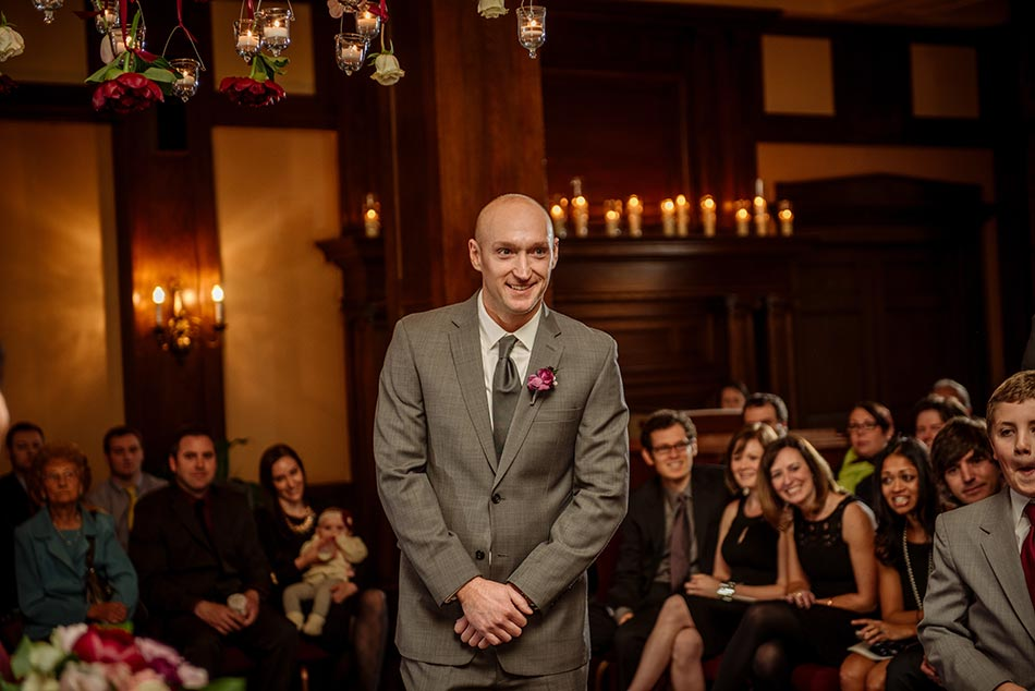 groom waits for bride Wedding at Minneapolis Club