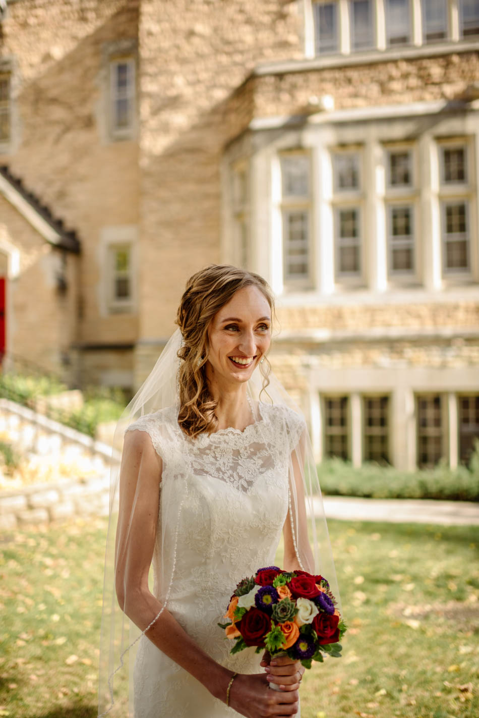 bride laughing St Lukes Episcopal church wedding minneapolis