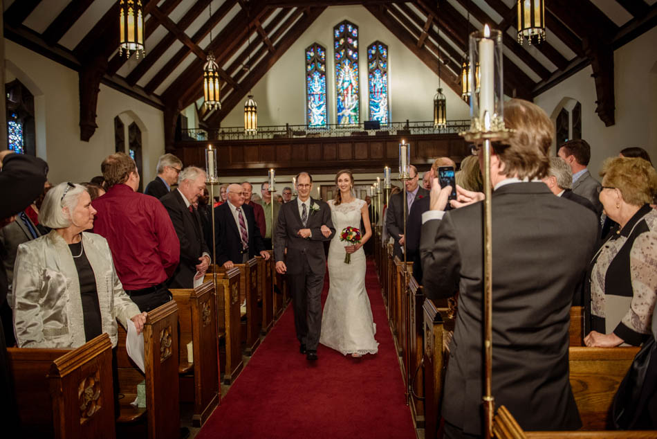 bride and father walk down aisle St Lukes Episcopal church wedding minneapolis