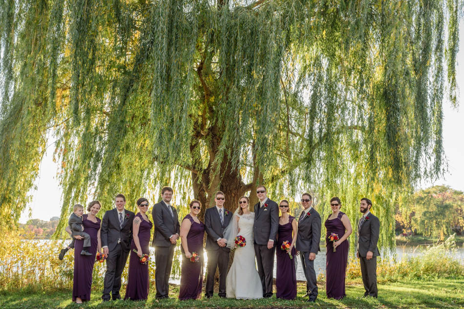 minneapolis wedding photographer wedding party with willow tree