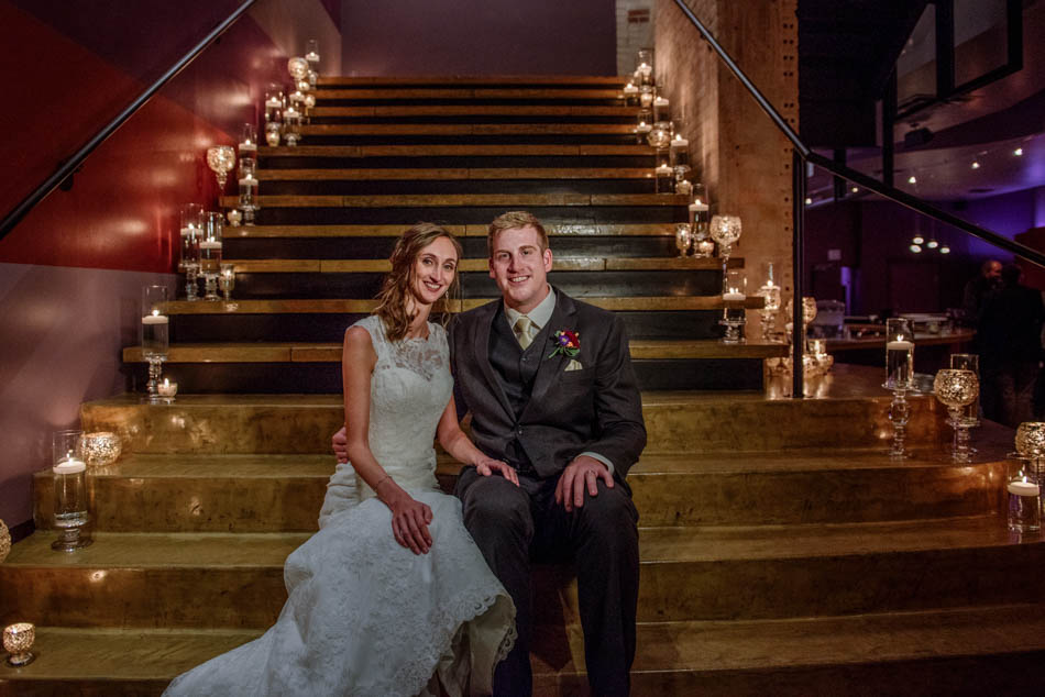 on stairs minneapolis wedding photographer five event center