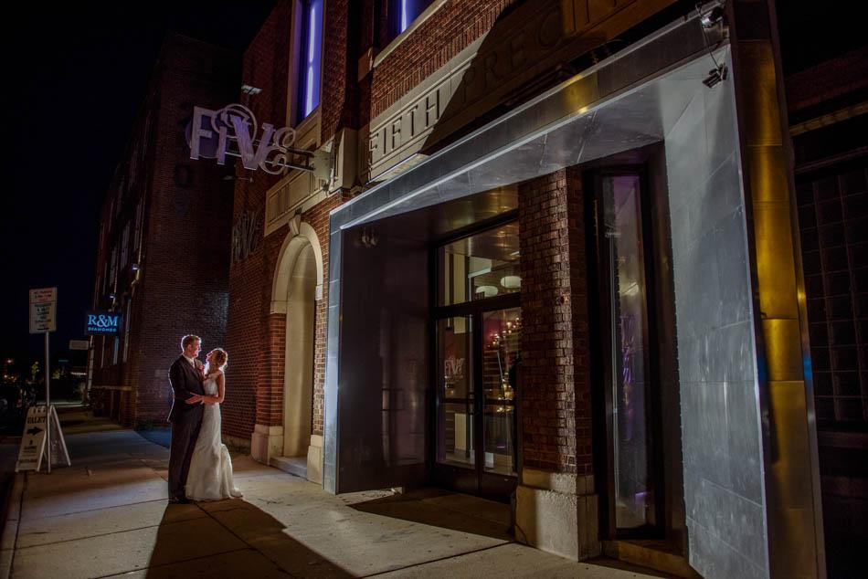 at night Minneapolis Five Event Center Wedding