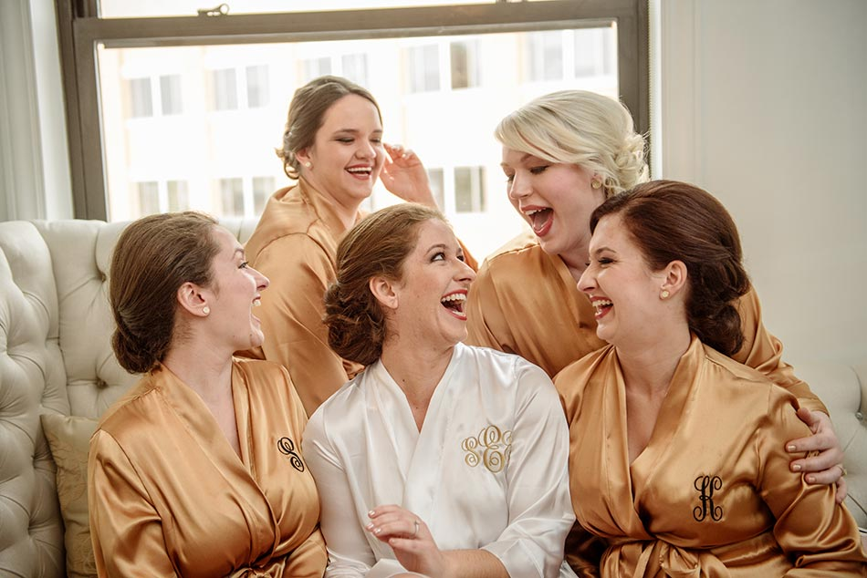 St Paul Hotel winter wedding mn bridesmaids in robes