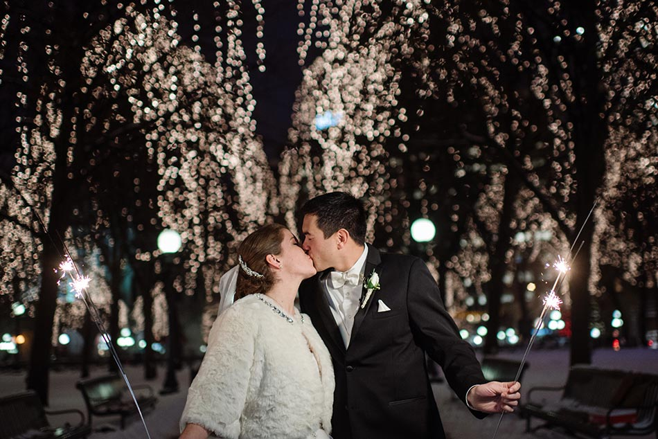 rice park lights at night St Paul Hotel winter wedding mn