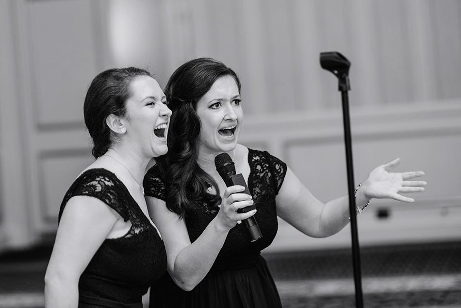 bridesmaids sing St Paul Hotel winter wedding mn